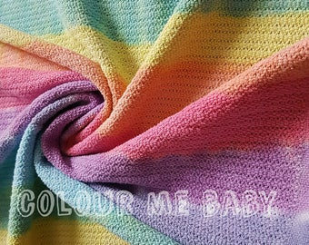 Rainbow stripes cotton cellular blanket large