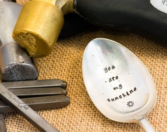 You Are My Sunshine Spoon / Personalised Engraved Spoon / Hand Stamped Spoon / Love Spoon / Stamped Cutlery / Anniversary Spoon
