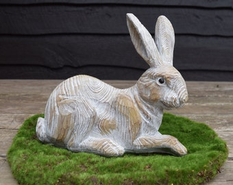 Faux Bois Carved Wood Painted Natural Wood Grain Easter Rabbit