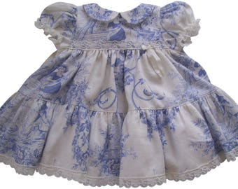 French Blue Toile Ruffles and Lace Baby Dress