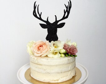 Deer Cake Topper. Outdoor Wedding Cake Topper. Woodland Cake Topper. Retirement Cake Topper. Glitter Deer Topper. Holiday Cake Topper