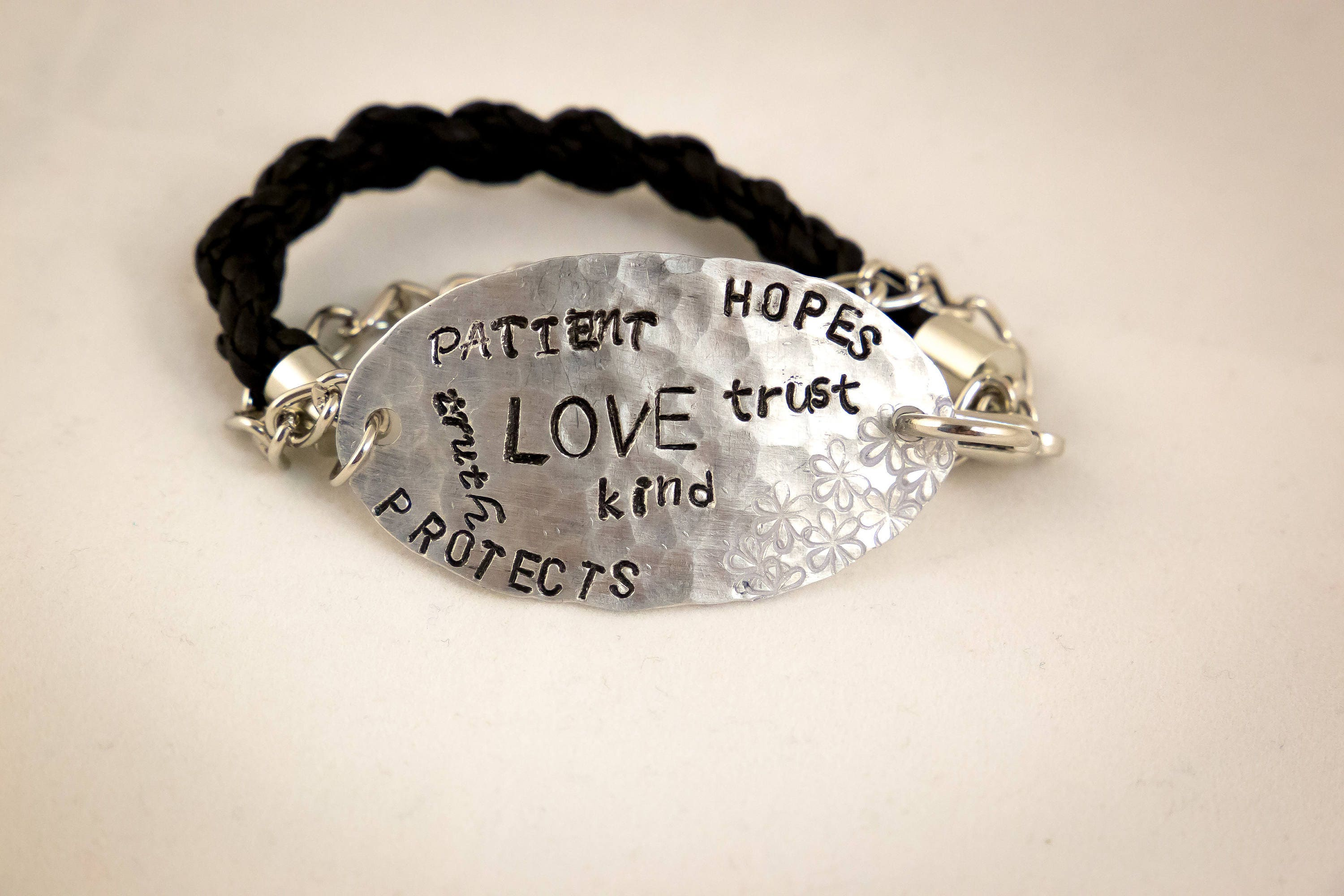 Love Is Patient Love Is Kind Quote Inspirational Jewelry  Quote Bracelet  Love Is Patient  Love Is