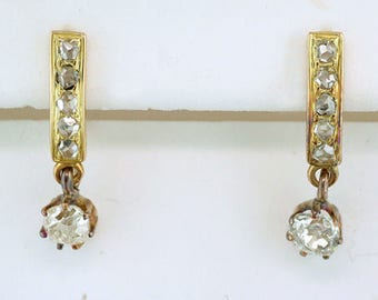Vintage Antique 3/4ct Diamond 14K Yellow Gold Victorian Dangle Lever-Back Earrings