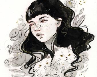 ORIGINAL ART -- Black & Gold Girl with Cats