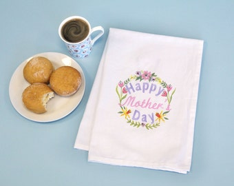 Mother's Day Gift, Printed Cotton Tea Towel with Handpainted Happy Mother's Day Floral wreath design