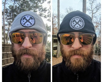 Northwoods Axe & Leather Cuffed Beanie Winter Hat - Grey or Black - handmade in MN - NWAL#016