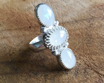 Moonstone ring  triple moonstone ring three stone moonstone ring