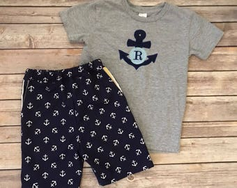 Boys Anchor Shorts Set, Boys Monogram Set, Boys Cruise Outfit