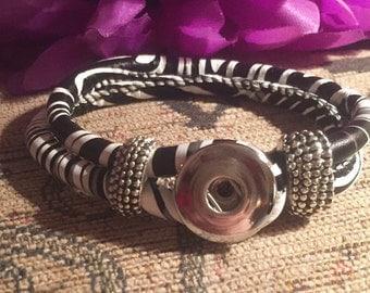 Woven zebra black white stripey silver snap button bangle