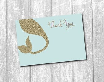 Adorable Mermaid Thank you Note/DIGITAL FILE/printable/wording and colors can be changed
