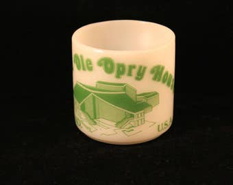 Grand Ole Opry House USA White Milk Glass Coffee Mug Tea Cup Federal Glass Vintage Green Print Gift Nashville Tennessee