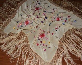 Lovely Vintage Folk Hand Embroidered Flowers Beige Scarf/ Handmade Floral Piano Fringe Silk Shawl/ Amazing Folk Art Embroidered Floral Scarf