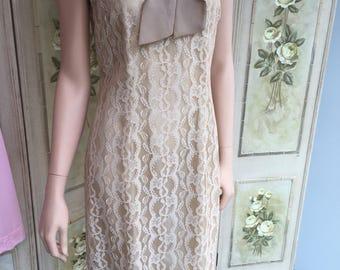 Original Vintage 1960s Taupe Lace Shift Dress. Guide Size 12 #A3