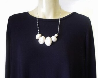 Organic Clay & Sterling Silver Pebble Necklace 1