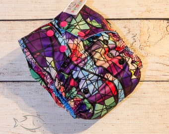 Cathedral stained glass cloth diaper / Abstract diaper / one-size pocket diaper / Rainbow cloth diaper / multicolore cloth diaper