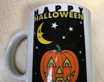 Happy Halloween vintage ceramic holiday mug