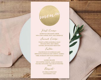 Blush and Gold Menu Card / Custom Menu / Metallic Gold and Blush / Faux Gold Wedding Menu  ▷ Printable File {or} Printed & Shipped