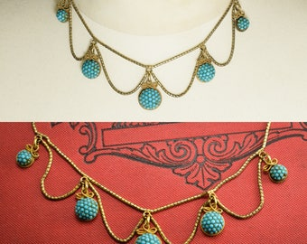 Antique Victorian Etruscan Revival Pavé Turquoise Necklace in 15k gold, c1870