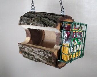 Bird Feeder- Handmade - Black Walnut-The Original Natural Log Feeder - Combo Seed & Suet - Feeder -upcycled from fallen trees - Gift