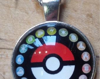 Pokeball Pokemon Glass Tile Pendant Necklace free shipping