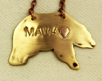 mothers day gift - hand stamped - new mom gift - gift for mom - mama bear necklace  - mama bear jewelry - hand stamped jewelry - personalize