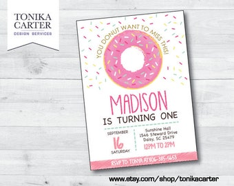 Pink Donut Birthday Invitation