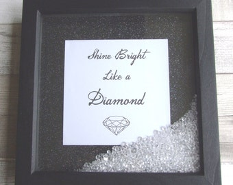 shadow box frame minimalist style black and white rhinestones glitter shine bright like a diamond scattered gem embelishments