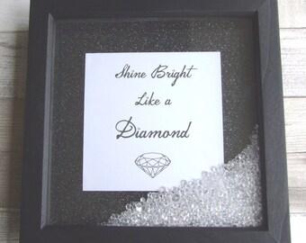 shadow box frame minimalist style black and white rhinestones glitter shine bright like a diamond scattered gem embelishments