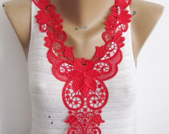 Carmen Red Collor Lace Red Ivory Lace Dentelle Collor Collor Embellishment Bright Red Lace   Collor Applique