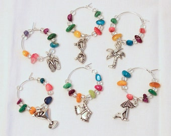 Wine Charms Wine Glass Charms Summer Decor Wine Glass Markers Beach Wine Glass Charms Coastal Wine Glass Charms Beach Decor Coastal Decor
