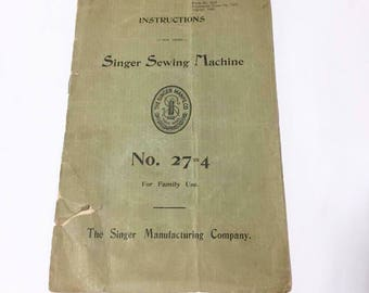 Singer Sewing Machine No. 27-4 Manual and News Clipping