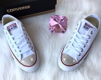 Women's Bling Converse Chuck Taylor Ox Casual Shoes Customized with Swarovski Crystals
