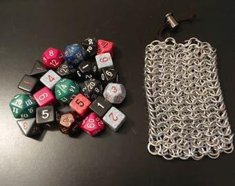 Medium Aluminum Chainmail Bag - Chainmaille Dice Bag - Black Coin Purse Pouch - DnD Pathfinder MtG Magic Accessory - Geeky Nerdy Gamer Gift