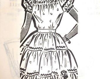 1940s vintage UNUSED dressmaking pattern. Tiered American holiday dress by post. Includes original envelope. UK 6-8, US 2-4
