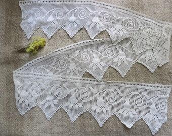 Crochet Lace, handmade lace, crochet trim edging, antique lace trim, vintage crochet trim, crochet lace trim,  embroidery lace, lace trim