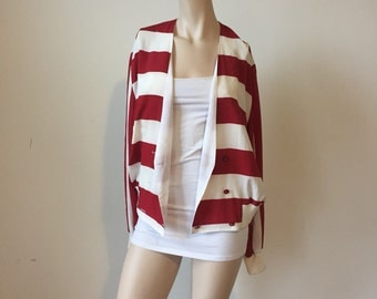 Red and white striped jacket