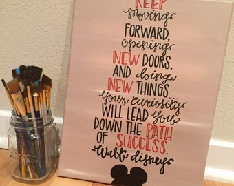 Inspirational Walt Disney Quote, Hand-painted Canvas Wall Hanging Art Decor