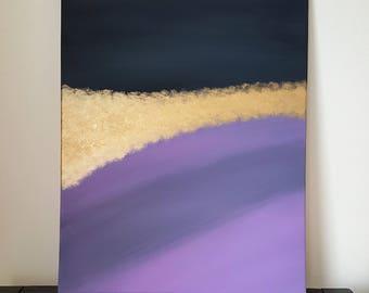 Black, Purple and Metallic Gold Canvas Art | Acrylic Painting | Home Decor | ORIGINAL ART