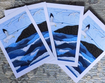 Stationary/ Writing paper/ note cards/ post cards with 'Seagulls Flying' (x 4) + envelopes. Printed + imaged from a quilted coastal textile.