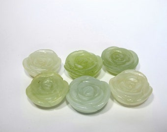 New jade carved flower pendant. Natural stone pendant. Carved rose flower pendant