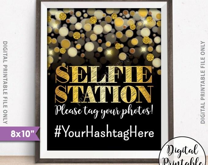 """Selfie Station Sign, Hashtag Sign, Share on Social Media, Instagram, Facebook, Wedding Sign, Black & Gold Glitter 8x10"""" Digital Printable"""