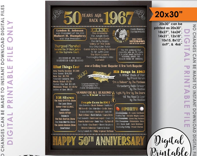 """50th Anniversary Gift 1967 Poster, 50 Years USA Flashback 50th Wedding, Instant Download 20x30"""" Married in 1967 Chalkboard Style Printable"""