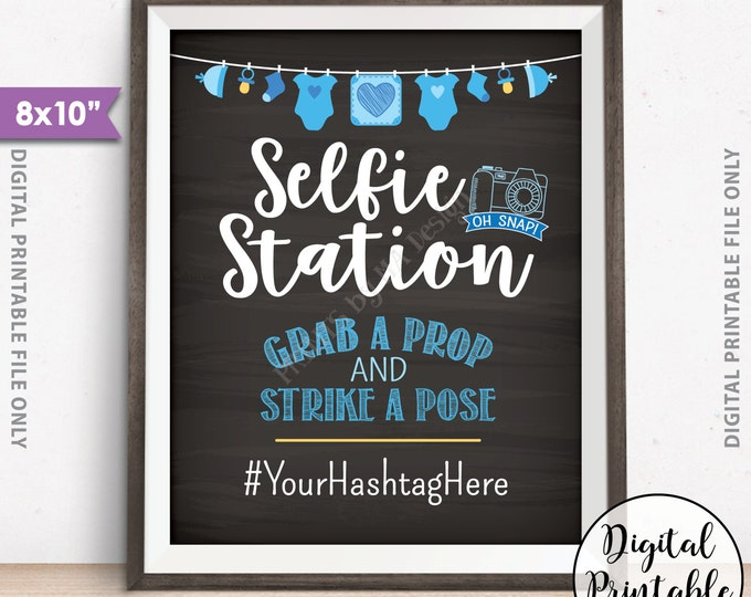 "Selfie Station Sign, Baby Shower Sign, Baby Shower Hashtag Sign, Blue Baby Shower Decor, Shower Activity, 8x10"" Chalkboard Style Printable"