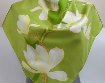 Vintage Silk Scarf, Floral Motives Silk Scarf,  Green and White Colours, Vintage Silk Scarf,  Made in Italy