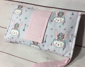 Nappy wallet, diaper clutch in modern lilac grey, gold, mint tribal bunny, cotton, portable and padded for style
