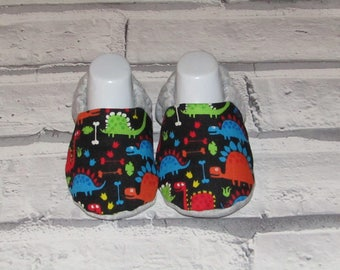 Dark Multi-coloured  Dinosaur baby booties, sizes available up to 24 months size,Unique, Fun & Cute!