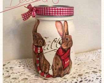 Cutest hare rabbit Mason ball decoupaged jar gift idea