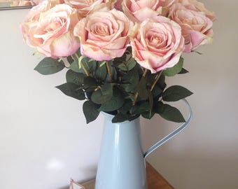 Faux pink artificial silk roses