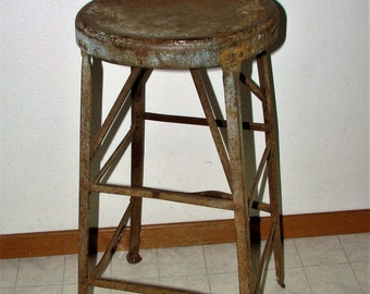 Iron Stool Industrial Heavy Iron Shop Stool Weighs almost 16 Pounds It is SOLID