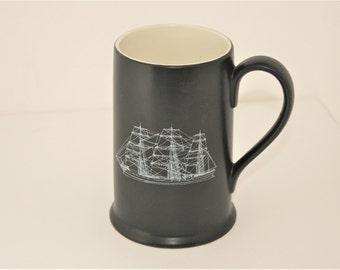 Large Enesco Black Ship Mug